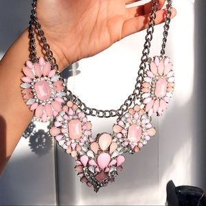 Baby Pink Silver Layered Statement Necklace! 💖💎